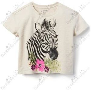 "NWT ""CAMP MUST-HAVES"" Cream Zebra Tee"